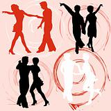 Set of vector silhouettes dancing mans and womans