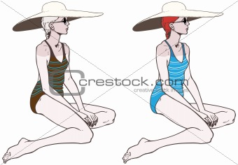 Young sexy women in swimsuit with a large hat, vector illustration