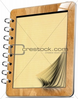 Wooden Tablet Computer Notebook with pages