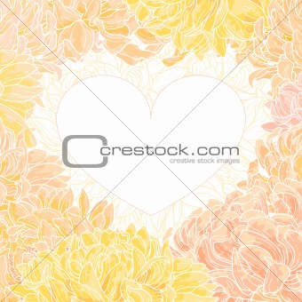 Romantic heart-frame with chrysanthemum