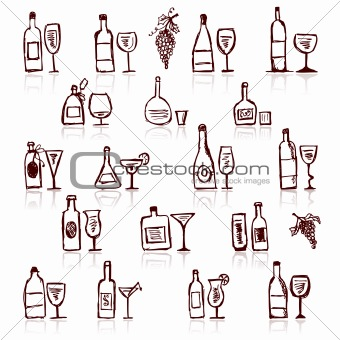 Set of alcohol's bottles and wineglasses