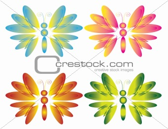 Four butterflies , vector.