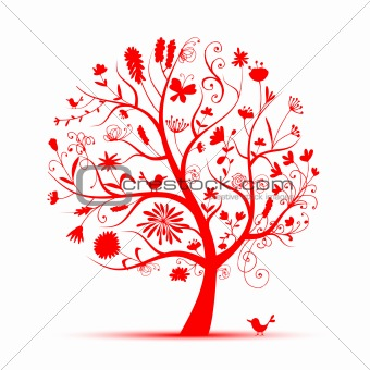 Art floral tree red for your design
