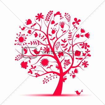 Art floral tree pink for your design