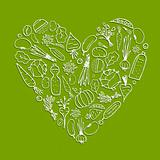 Healthy life - heart shape with vegetables for your design