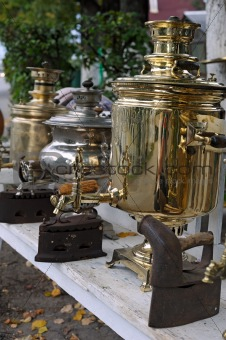Antique samovars and irons