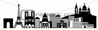 Paris France City Skyline Panorama Clip Art