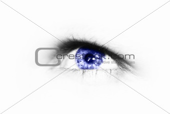 eye with blue iris