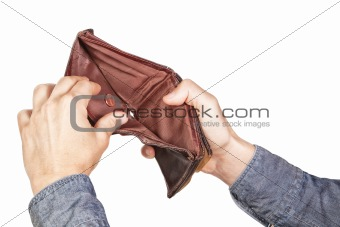 Empty wallet in his hands. On a white background.