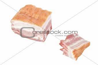 Cut ham slices. On a white background.