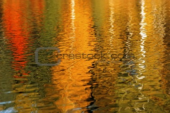Autumn trees reflected in the water is beautiful