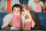 Scared Couple At Movies