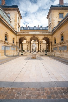 Sorbonne Courtyard Statue Arches