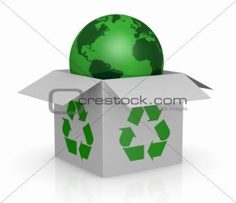 carton box, recycling symbol and a earth globe