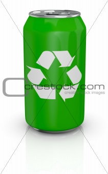 aluminum can with recycling symbol