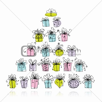 Pyramid from gift boxes for your design
