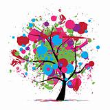 Funny grunge tree, colors of summer for your design