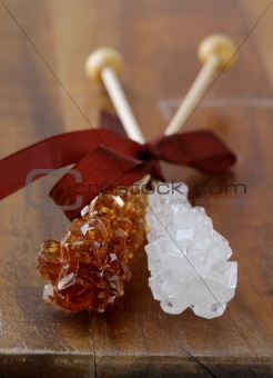 crystal sugar candy on a wooden stick