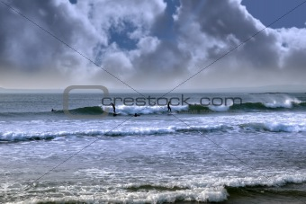 atlantic ocean storm surfing