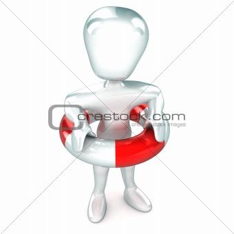 Man wearing Life Presever