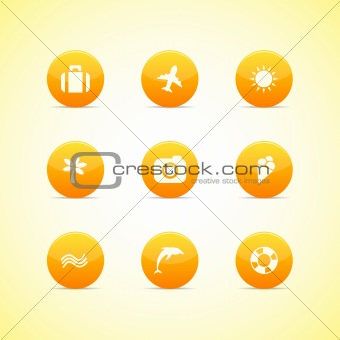 Set of orange icons: holiday theme