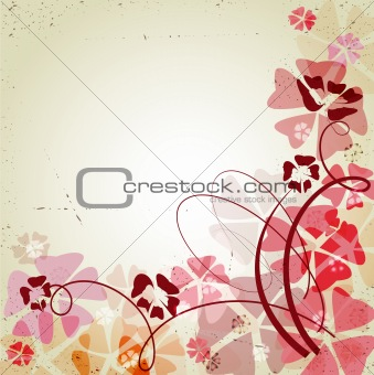 Retro background with color flowers