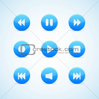 Set of round blue media player buttons