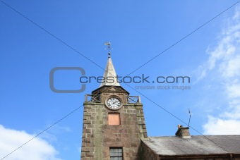 Old, gothic town clock in Scotland
