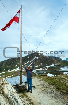Austrian Flag above Alps mountain