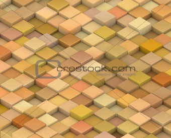 abstract 3d render cubes in different shades of orange