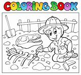 Coloring book dinosaur excavator