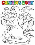 Coloring book dinosaur scene 2