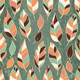 Grunge seamless pattern of colored leaves
