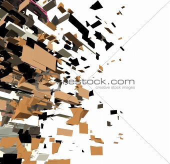 fragmented 3d abstract graffiti modern sculpture render