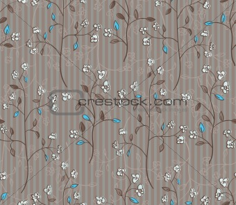 Floral seamless pattern of branches with flowers and turquoise leaves
