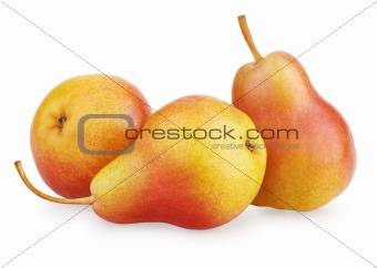 Three red-yellow pear fruits