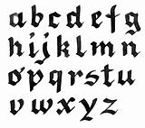 Hand written black ink alphabet