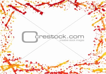 Abstract border with colorful watercolor splashes