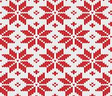 Red snowflake seamless knitted background