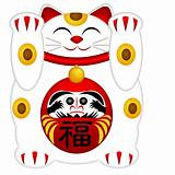Maneki Neko Welcoming Cat with Daruma