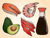 Sushi ingredients set