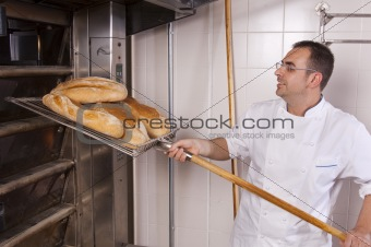 Baker makes the bread