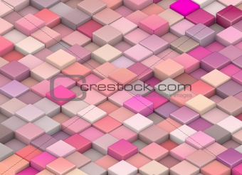 abstract 3d render cubes in different shades of pink