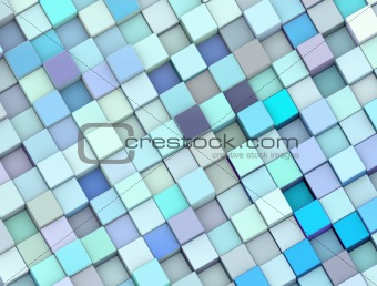 abstract 3d render cubes in different shades of blue