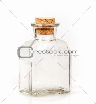 blank glass bottle with cork stopper