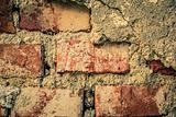 toned brick wall grunge background or texture