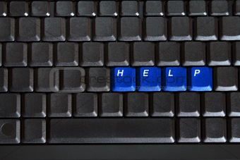 blank computer keyboard with blue keys HELP