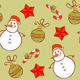 seamless pattern with snowman