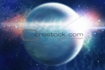 Abstract space landscape with planet and sunrise