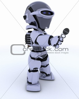 Robot reporter with a microphone
